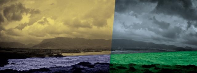 Los Escullos bajo la lluvia de 4 colores